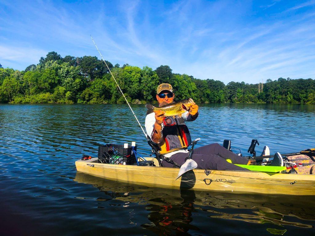 Angler Jared Russell in his Kayak
