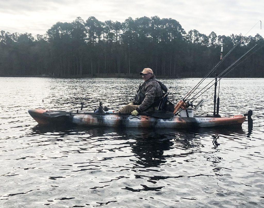 Angler Pat Crawford in Kayak